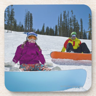 USA, Colorado, Telluride, Father and daughter 3 Drink Coaster