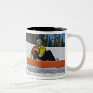USA, Colorado, Telluride, Father and daughter 3 Two-Tone Coffee Mug