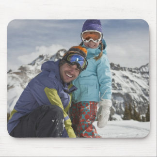 USA, Colorado, Telluride, Father and daughter Mouse Mat