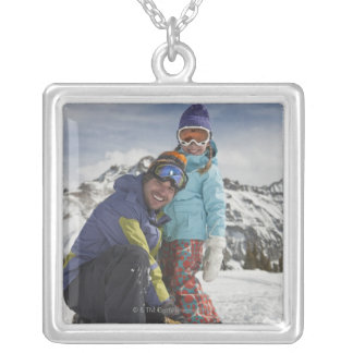USA, Colorado, Telluride, Father and daughter Silver Plated Necklace