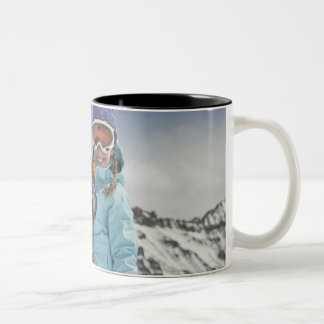 USA, Colorado, Telluride, Father and daughter Two-Tone Coffee Mug