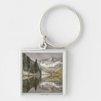 USA, Colorado, White River National Forest, Silver-Colored Square Key Ring