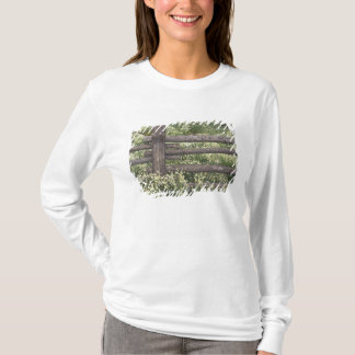 USA, Colorado, Wild Chamomile around log fence T-Shirt