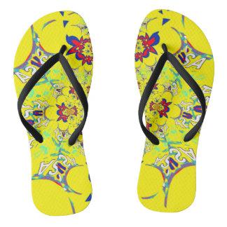 USA colorful bright floral Summer pattern design Flip Flops