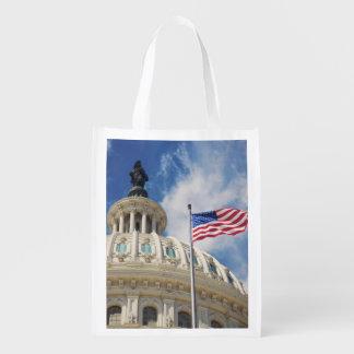 USA, Columbia, Washington DC, Capitol Building Reusable Grocery Bag