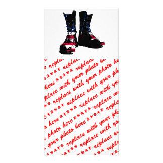 USA Combat Boots Photo Greeting Card