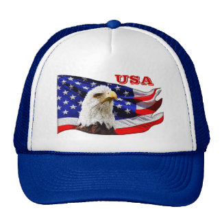 USA Cool Eagle and American Flag Snapback Hat Mesh Hat
