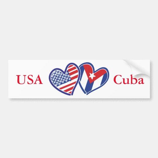 USA Cuba Love Hearts Bumper Sticker