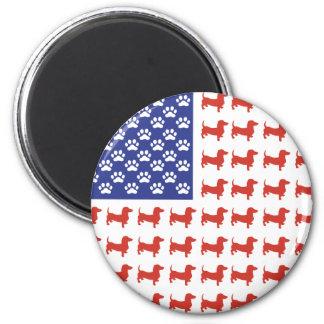 USA Dachshund 6 Cm Round Magnet