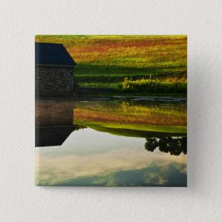 USA, Delaware, Wilmington. Stone barn on edge 15 Cm Square Badge