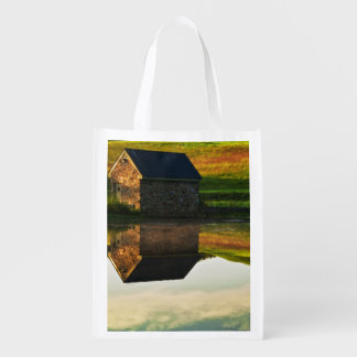USA, Delaware, Wilmington. Stone barn on edge Reusable Grocery Bag