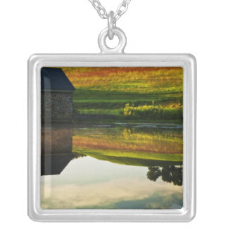 USA, Delaware, Wilmington. Stone barn on edge Silver Plated Necklace