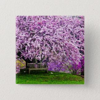USA, Delaware, Wilmington. Wooden bench under 15 Cm Square Badge