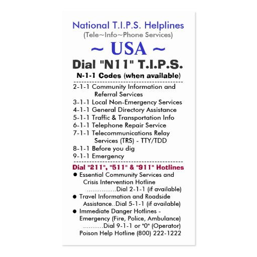 USA Dial N11 T.I.P.S. Helplines Template Business Card Templates