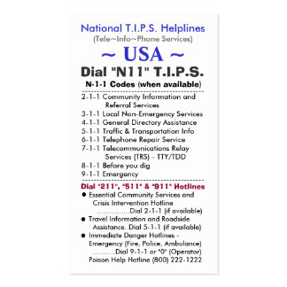 USA Dial N11 T.I.P.S. Helplines Template Pack Of Standard Business Cards