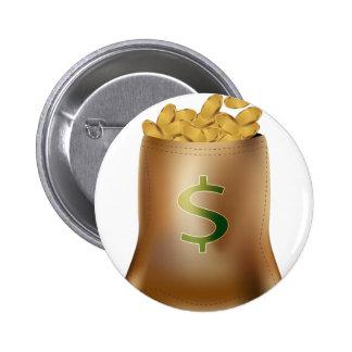 USA Dollar Gold Coin Money Bag Icon 6 Cm Round Badge