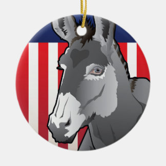 USA Donkey, Democrat Pride Christmas Ornament
