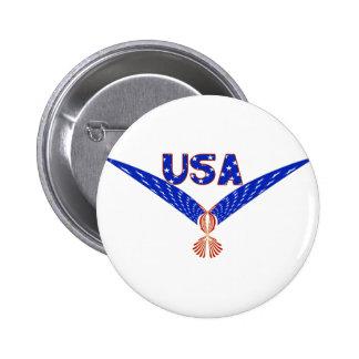 USA EAGLE - PATRIOTIC FLAG SYMBOL 6 CM ROUND BADGE