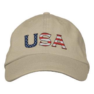 USA Embroidered Stars & Stripes Hat (Khaki) Embroidered Baseball Cap
