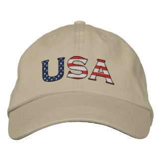 USA Embroidered Stars & Stripes Hat (Khaki) Embroidered Hat