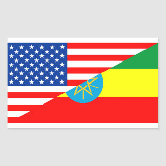 usa ethiopia country half flag america symbol rectangular sticker