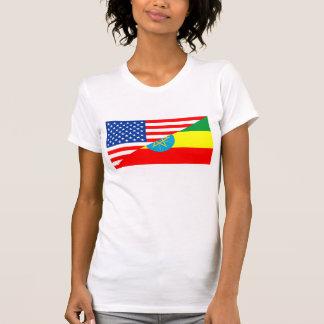 usa ethiopia country half flag america symbol T-Shirt