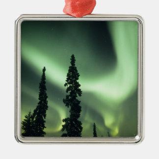 USA, Fairbanks area, Central Alaska, Aurora 2 Silver-Colored Square Decoration