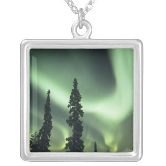 USA, Fairbanks area, Central Alaska, Aurora 2 Silver Plated Necklace