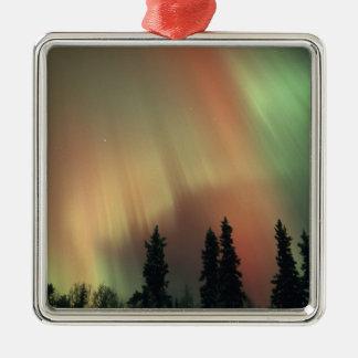 USA, Fairbanks area, Central Alaska, Aurora 3 Silver-Colored Square Decoration