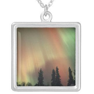 USA, Fairbanks area, Central Alaska, Aurora 3 Silver Plated Necklace