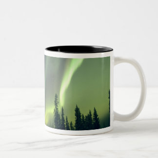 USA, Fairbanks area, Central Alaska, Aurora Two-Tone Coffee Mug
