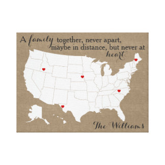 USA family heart map Canvas Print