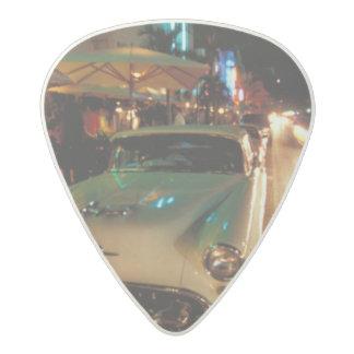 USA, FL, Miami, South Beach at night. 2 Acetal Guitar Pick