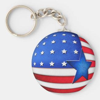 USA flag 3d globe Basic Round Button Key Ring