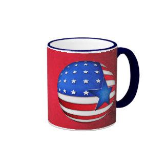 USA flag 3d globe Ringer Mug