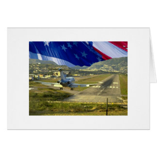 USA Flag Airliner Greeting Card