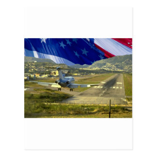 USA Flag Airliner Postcard