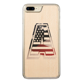 USA Flag American Initial Monogram A Carved iPhone 7 Plus Case
