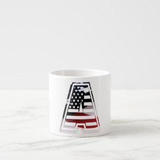 USA Flag American Initial Monogram A Espresso Mug