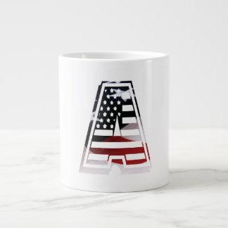 USA Flag American Initial Monogram A Jumbo Mug