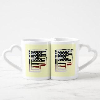 USA Flag American Initial Monogram F Lovers Mug