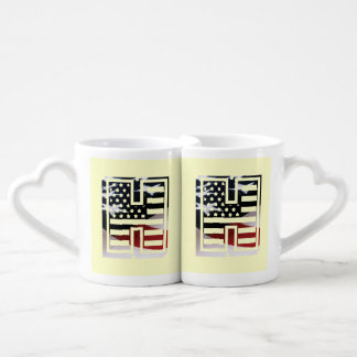 USA Flag American Initial Monogram H Coffee Mug Set