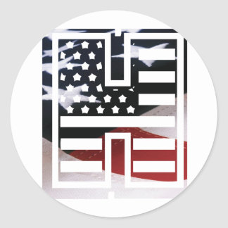 USA Flag American Initial Monogram H Round Sticker