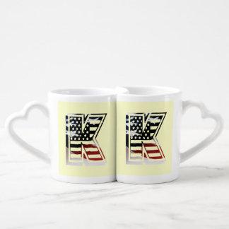 USA Flag American Initial Monogram K Lovers Mug
