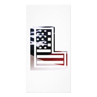 USA Flag American Initial Monogram L Photo Card