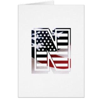 USA Flag American Initial Monogram N Card