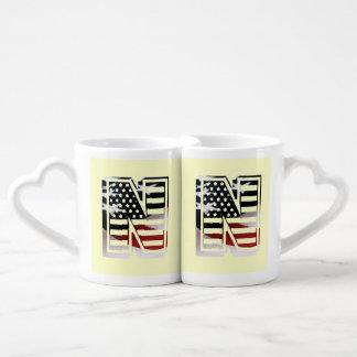 USA Flag American Initial Monogram N Lovers Mug