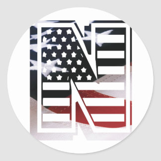 USA Flag American Initial Monogram N Round Sticker