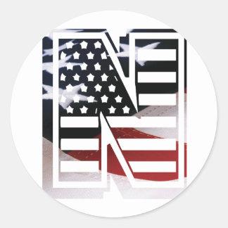 USA Flag American Initial Monogram N Round Sticker