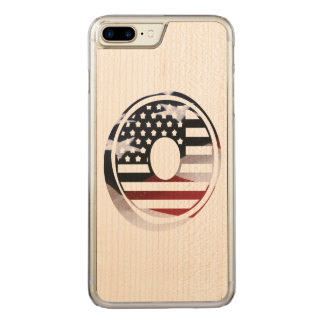 USA Flag American Initial Monogram O Carved iPhone 7 Plus Case